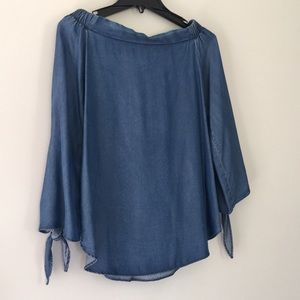 Philosophy Off-the-Shoulder Chambray Shirt - XS